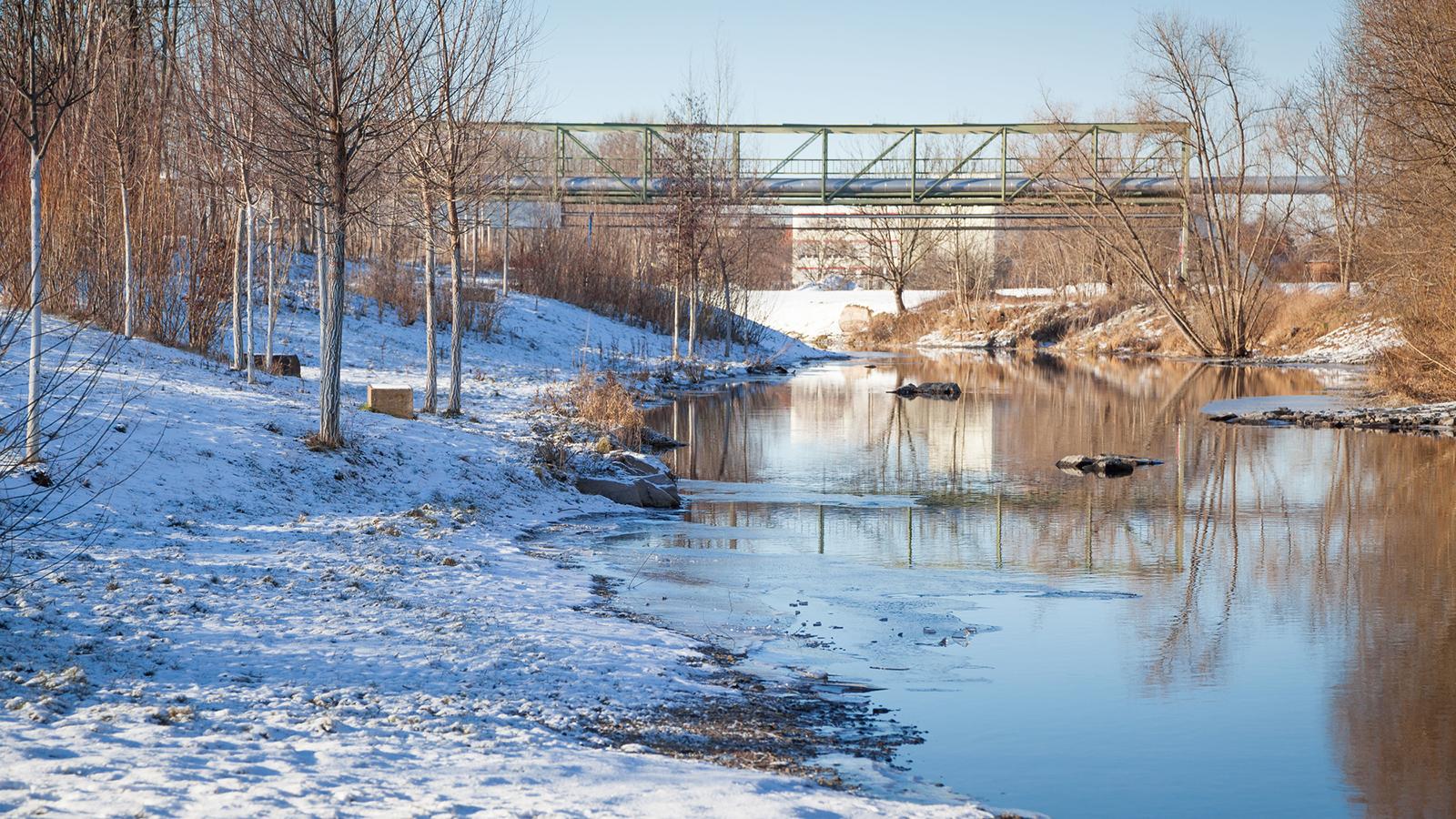 Brücke Gispersleben im Winter